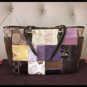 Coach Holiday Patchwork Tote Multicolored